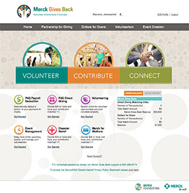 Merck Employee Giving interface