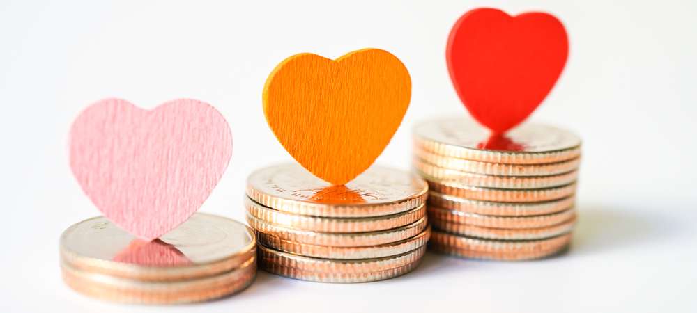 payroll giving coins and hearts