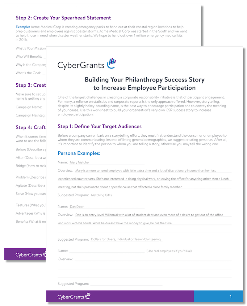 Example of a Philanthropy Success Story worksheet